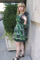 green chiffon Anna Sui dress - black satin vintage purse