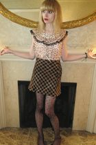 white Anna Sui blouse - pink milly top - brown Betsey Johnson skirt - gold neckl