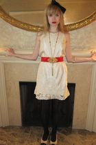 white Gold Hawk dress - red belt - gold vintage necklace - beige Jessica Kagan C