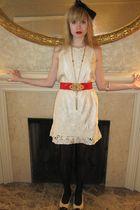 white Gold Hawk dress - red belt - gold vintage necklace - beige Jessica Kagan C