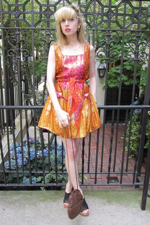 carrot orange star Anna Sui dress - light orange chiffon Vintage Perry Ellis sca