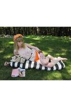 beige vintage blouse - orange swimwear - black calvin klein belt - white necklac