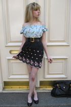blue vintage top - black Shoshanna dress - black vintage chanel belt - gold vint