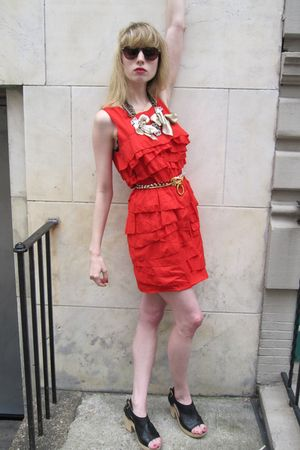 black clog Chanel shoes - red ruffled 31 phillip lim dress