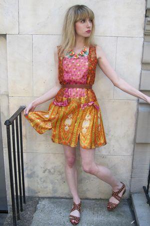 orange Anna Sui dress - brown vintage belt - orange vintage necklace - brown loe