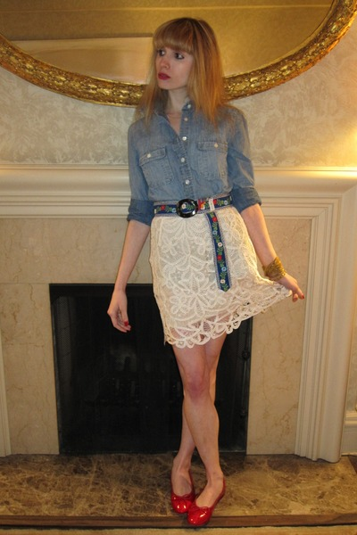 blue shirt - white 31 phillip lim skirt - blue Hadley Pollet belt - gold vintage