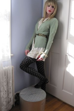 green maya sweater - white Gold Hawk dress - gold belt - green vintage necklace