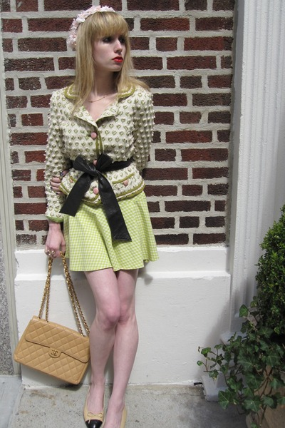 white Marc by Marc Jacobs jacket - green Betsey Johnson skirt - brown vintage be