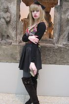 black Armani collezioni sweater - black Joie dress - gold Anna Sui skirt - gray