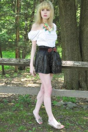 black leather 31 Phillip Lim shorts - ivory eyelet vintage blouse