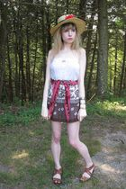 white Eloise dress - brown banana republic top - red Vintage Perry Ellis scarf -