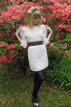 black studded belt - black jeweled Miu Miu shoes - white lace Jill Stuart dress