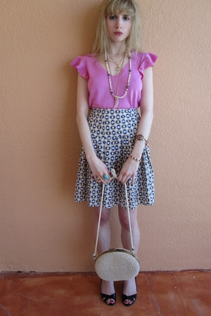 pink Ralph Lauren top - purple Miu Miu skirt - gold Vintage costume necklace - w
