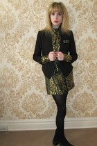gold brocade milly dress - black tux Helmut Lang jacket - gold jewel vintage rin