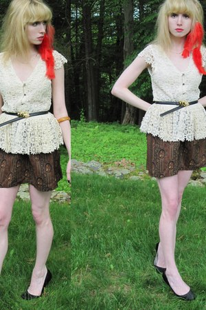 cream wendy Alice  Olivia blouse - brown silk vintage Gloria Sachs skirt - black