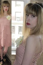 light pink abigail Alice  Olivia dress - ivory pearl vintage ring - ivory pearl