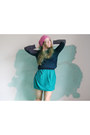 Bubble-gum-beanie-cos-hat-turquoise-blue-asos-dress-white-calvin-klein-shirt
