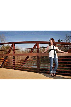 black Max Rave top - beige Mossimo sweater - blue Gap jeans - black Danelle shoe