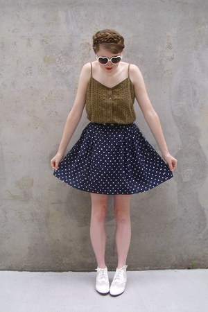 navy polka dot vintage skirt - white ankle Urban Outfitters boots