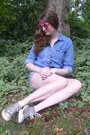 Navy-denim-vintage-shorts-bubble-gum-bicycle-giant-vintage-sunglasses