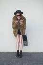Light-brown-leopard-print-flying-tomatoe-coat-black-vintage-hat