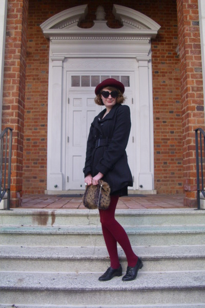 maroon vintage hat - black pea sears coat - maroon sweater H&amp;M tights