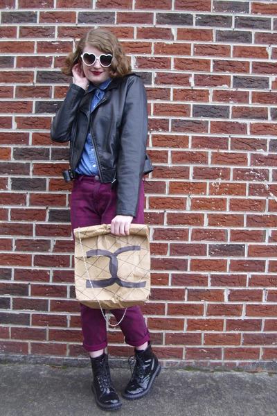 light brown paper DIY Faux Chanel bag - black combat Target boots