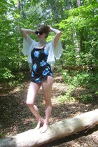 black floral vintage swimwear - light blue vintage top