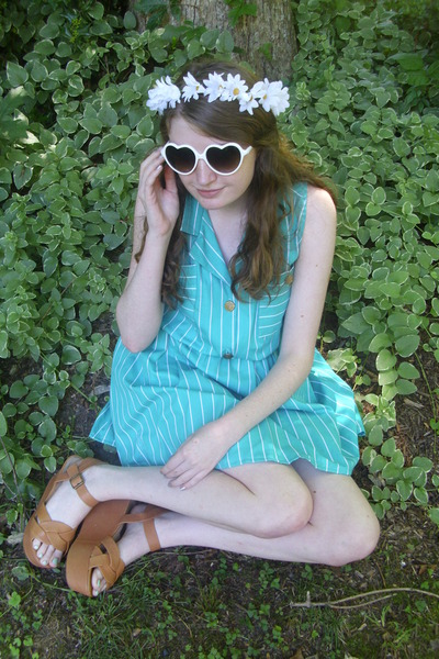 turquoise blue striped reconstructed dress