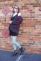 crimson plaid vintage blazer - black combat Target boots