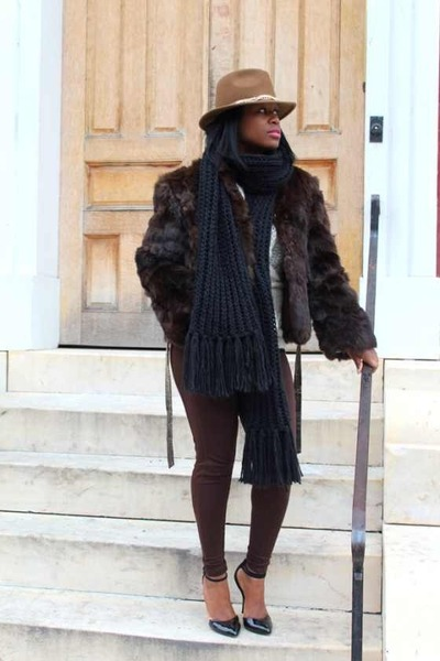 vintage coat - calvin klein hat - Urban Outfitters scarf - asos pumps