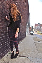 brick red plaid Maggie Ward pants - black black tee dolan shirt