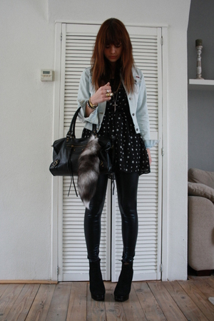 Zara dress - Only jacket - Topshop leggings - Topshop boots