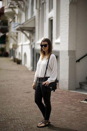 leather H&M pants - &otherStories sunglasses - lace Zara blouse