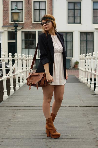 vintage blazer - acne boots - H&M dress