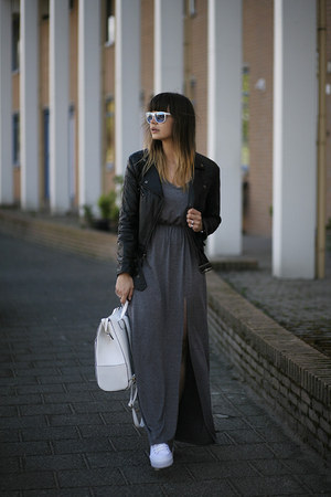 maxi Ivyrevel dress - leather biker jacket - white backpack bag