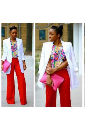 red pants - white blazer - floral blouse