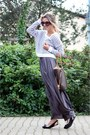 H-m-sweater-prada-sunglasses-charcoal-gray-zara-skirt-burberry-flats