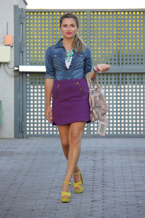 purple Zara skirt - H&M shirt - light pink balenciaga bag - yellow Zara heels
