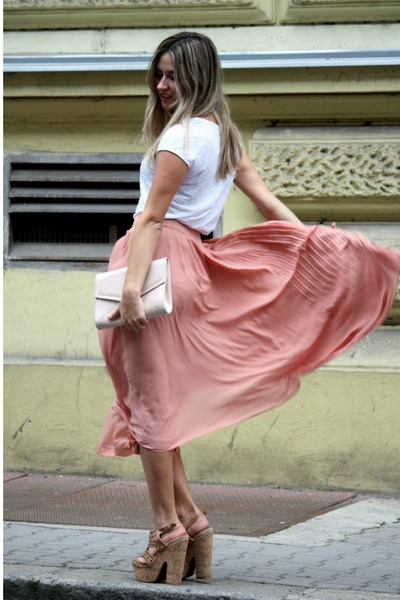 nude H&M bag - peach H&M skirt