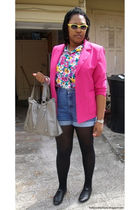 pink blazer - black shoes - black tights - blue shorts - pink shirt - gray bag