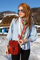 floral scarf H&M scarf - denim shirt H&M shirt - vintage bag