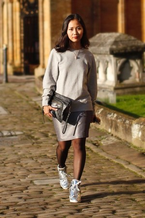 silver cotton-terry sweatshirt - black balenciaga bag - silver sneakers