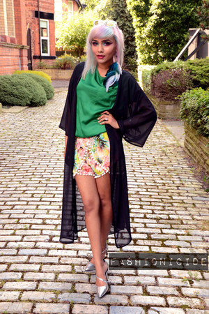 Topshop top - Lily Lulu Fashion shorts - h&m divided cape