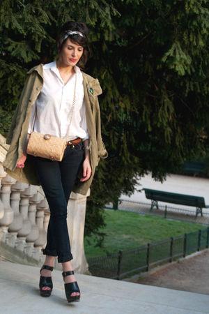 green Topshop jacket - white H&M shirt - black Zara pants - black Zara shoes - b