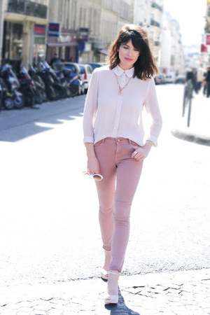 pink Topshop jeans - light pink Queens Wardrobe shirt - ivory Melissa wedges