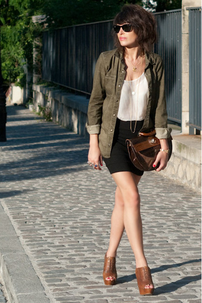 green Zara shoes - brown Zara shoes - black H&amp;M skirt