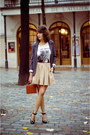 Heather-gray-silence-the-noise-blazer-white-zara-t-shirt-camel-zara-skirt-