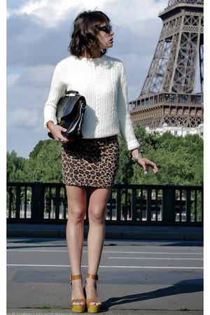cream American Apparel sweater - black vintage bag - camel Zara skirt