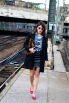 sky blue vintage jacket - black Claudie Pierlot coat - dark brown vintage bag